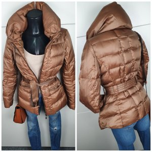ZARA Jacke Steppjacke Daunen Jacke mit Gürtel beige braun xs 34 s