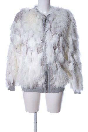 Zara Veste en fausse fourrure blanc cassé-gris clair style décontracté
