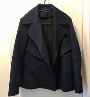 Zara Abrigo ancho azul oscuro