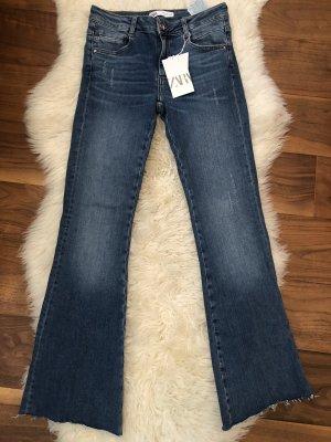 Zara Trafaluc Jeansowe spodnie dzwony niebieski