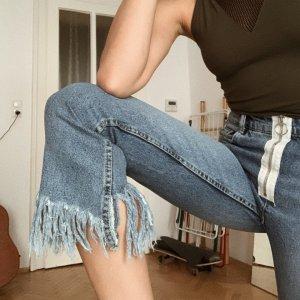 Zara 3/4-jeans wit-blauw
