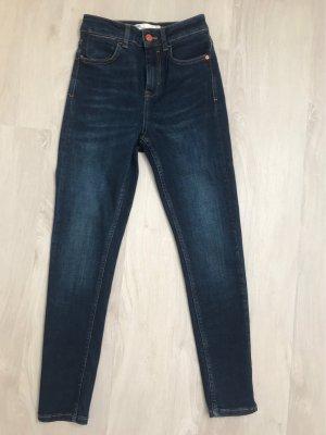 Zara Hoge taille broek donkerblauw