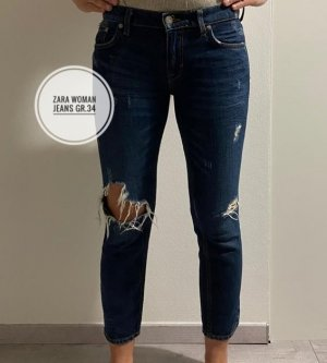 Zara Woman Boyfriend Jeans dark blue