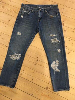 Zara Basic Spodnie biodrówki ciemnoniebieski-niebieski Bawełna