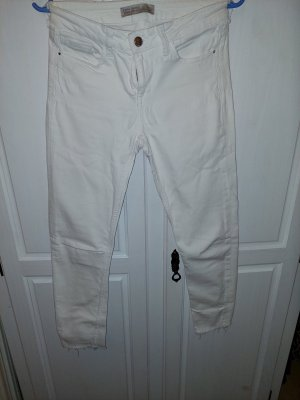 Zara Basic Jeansy z prostymi nogawkami biały