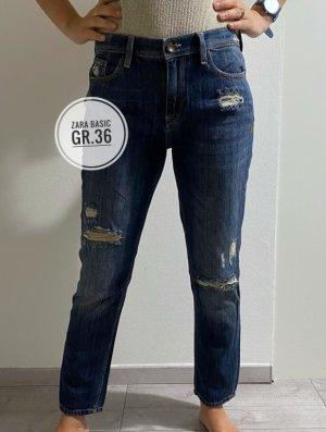 Zara Basic Boyfriend Jeans dark blue