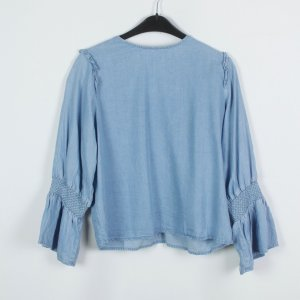 Zara Jeans-Bluse Gr. L blau Rüschen (19/03/109)