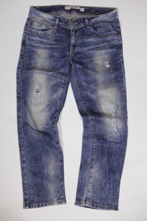 Zara Jeansy z prostymi nogawkami błękitny-chabrowy Bawełna