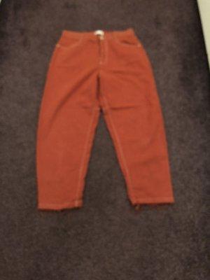 Zara Workowate jeansy pomarańczowy