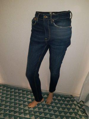 Zara Vaquero de talle alto azul Algodón