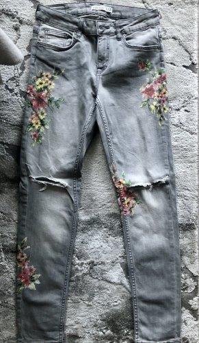 ZARA Jeans grau Blumenprint 36