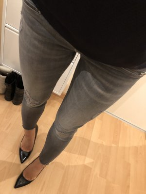 ZARA Jeans Grau ripped destroyed 38