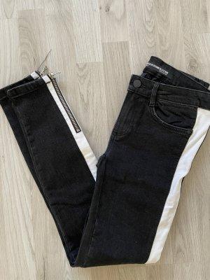 Zara Jeans Grau weiß gr 36 denim Streifen