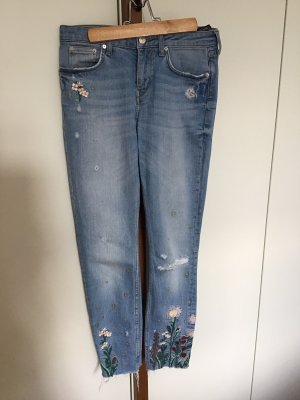 Zara Jeans Größe 36 Stickerei Sterne Blumen