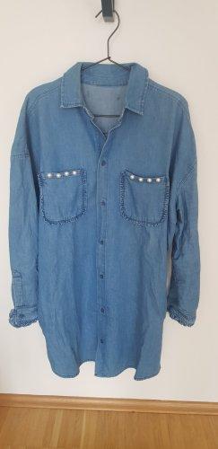 ZARA Jeans Hemd Hemdkleid 40/42 Perlen denim blau
