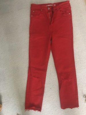 zara jeans high waist rot