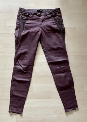Zara Jeans Hose 36 S Skinny Coated Bordeaux Dunkelrot Biker