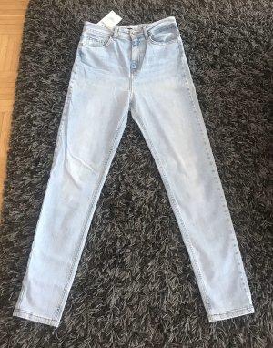Zara Pantalon taille haute bleu clair