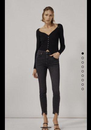 Zara Boyfriend Trousers blue mixture fibre