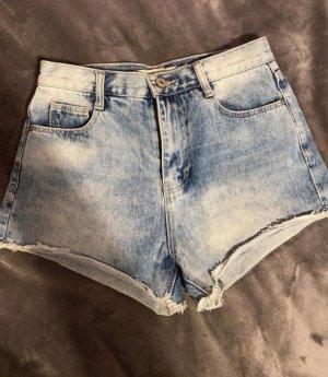 Zara High waist short wit-blauw