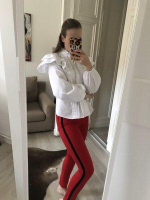 Zara Jeans in Rot mit Samtstreifen an der Seite 38