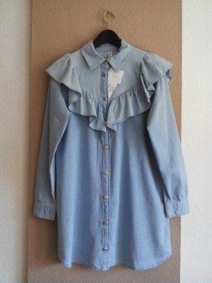 Zara Jeans Minikleid mit Volant aus 100% Baumwolle, Größe M, neu