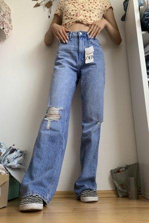 Zara Workowate jeansy błękitny-stalowy niebieski