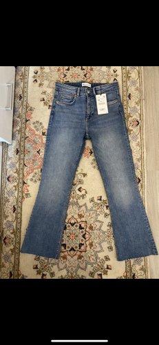 Zara Jeans a zampa d'elefante blu acciaio