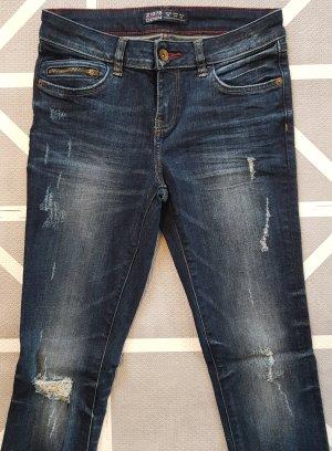ZARA Jeans, Slim Fit, Middle Blue, Used Look, Größe 36