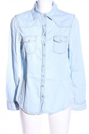 Zara Jeansbluse blau Business-Look