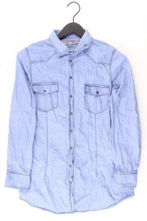 Zara Jeansbluse Größe M Langarm blau aus Baumwolle