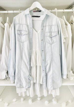 Zara Jeansowa koszula niebieski-jasnoniebieski