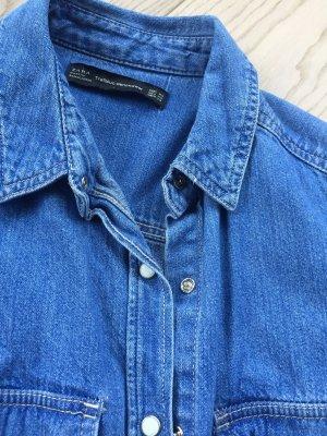 Zara Jeansowa koszula chabrowy