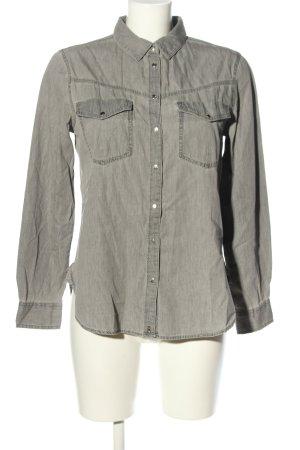 Zara Jeansowa koszula jasnoszary W stylu biznesowym