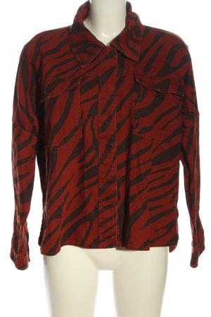 Zara Chemise en jean rouge-noir imprimé allover style décontracté