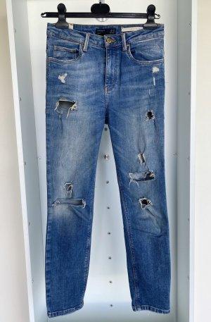 Zara Jeansy z prostymi nogawkami niebieski-ciemnoniebieski