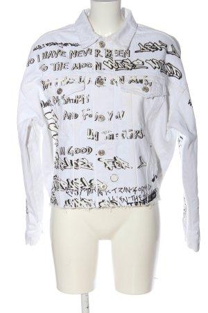 Zara Jeansjacke Schriftzug gedruckt Casual-Look