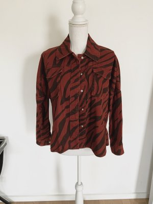 ZARA Jeansjacke XS 34 Animal Print Overshirt Denim Rot