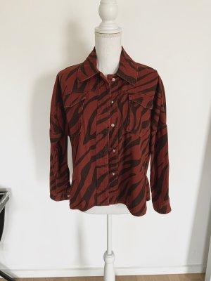 ❤️ ZARA Jeansjacke XS 34 Animal Print Overshirt Denim Rot ❤️