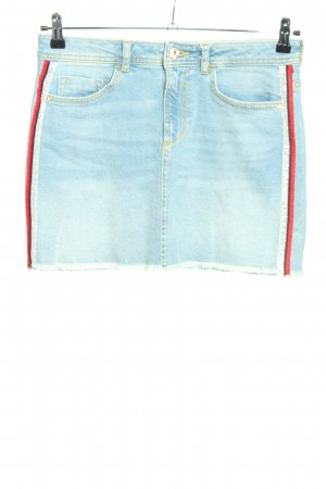 Zara Jeansrock blau-rot Casual-Look