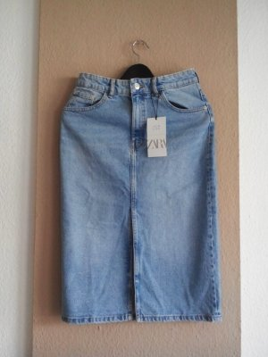 Zara Jeansrock in hellblau, verwaschener Optik, Größe 36, neu