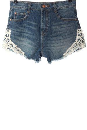 Zara Jeansshorts blau-creme Casual-Look