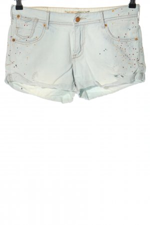 Zara Jeansshorts weiß grafisches Muster Casual-Look
