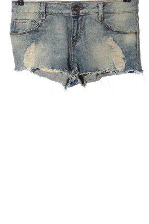 Zara Pantaloncino di jeans blu-crema stile casual