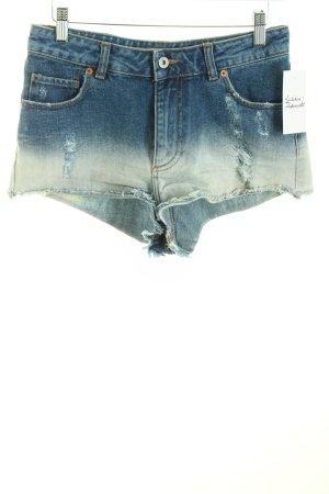 Zara Jeansshorts blau-hellblau Farbverlauf Destroy-Optik