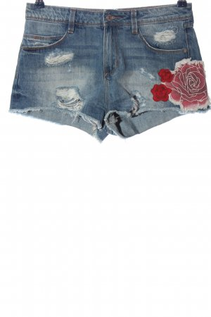 Zara Jeansshorts Blumenmuster Casual-Look