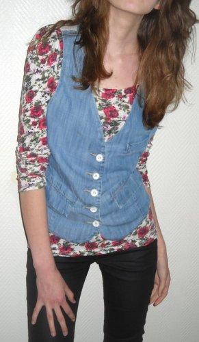 ZARA Jeansweste Weste Jacke jeans mittel blau Knöpfe 34 36 38 XS S M