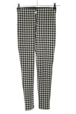 Zara Jeggingsy czarny-biały Wzór w kratkę W stylu biznesowym