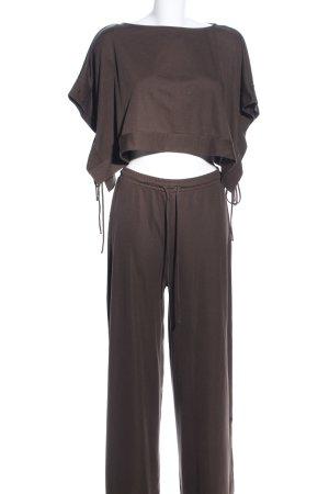 Zara Jersey twin set bruin casual uitstraling