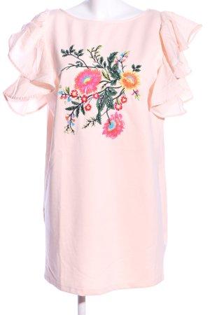 Zara Jerseykleid pink-grün Blumenmuster Casual-Look